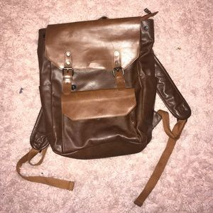LARGE OZEBELLA BROWN LEATHER BACKPACK